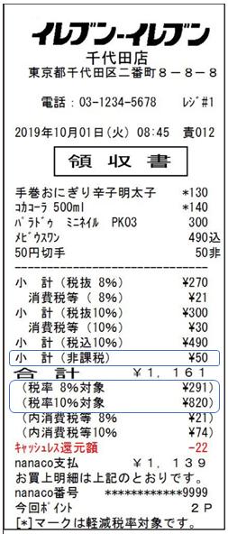 複数税率記載の領収書