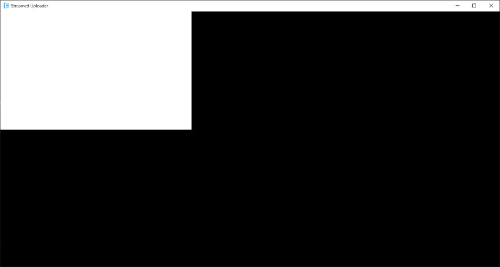アップローダーを立ち上げると真っ黒な画面になる