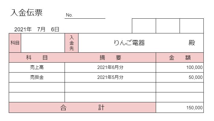 入金伝票のサンプル画像